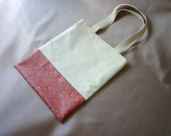 Library bag - pink flower field