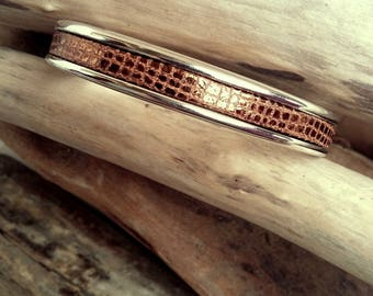Snap ring bracelet silver plated rhodium and coppered maroon leather jewelry of creation By Dodie