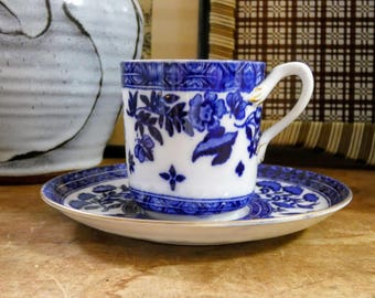 "Original Antique 1800s Coalport Porcelain Blue & White ""Belfort"" Victorian Fine China Tea Cup And Saucer"