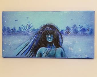 Original Acrylic Painting --- 6x12 --- Stretched Cotton Canvas ---- Yuki-Onna --- Winter Landscape --- Woman