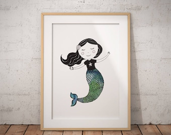 Mermaid Print, Original Art Print, Large Printable Poster, Mermaid Wall Art,  Girls