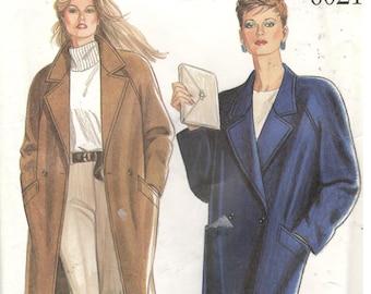 New Look 6021 Size 8, 10, 12, 14, 16, 18  Women's long jacket, coat, winter coat sewing pattern.  Long raglan sleeve coat is double breasted