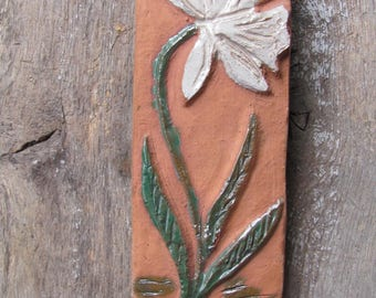 Swedish Vintage Ceramic Wall Hanging Tile with Narcise; Vintage Home Decor; Studio Pottery Wall Plaque Terracotta Tile with Hanger