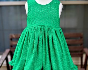 Charlotte Dress: Emerald Eyelet Modest Scoop Back Dress