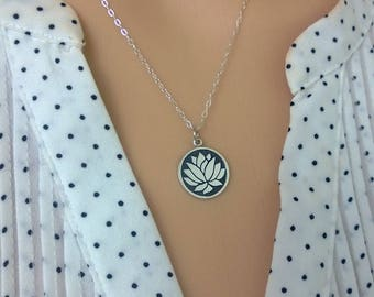 Sterling silver lotus necklace; lotus flower pendant necklace; sterling silver flower medallion necklace