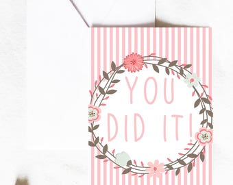 Congratulations Card, you did it card, celebration card, congrats card, graduation card, Greeting Card