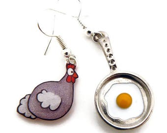 Chicken and fried egg earrings
