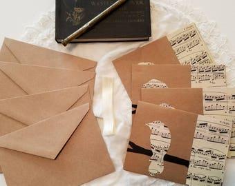 Sheet Music Note Cards, Bird Note Cards, Vintage Sheet Music Note Cards, Musician Gift, Set of Four Note Cards, MarjorieMae