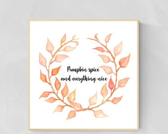 Autumn Wreath Quote Craft by Essie Lee, orange, fall, leaves, wall art, decor, original artwork, watercolor, painting, project, gift