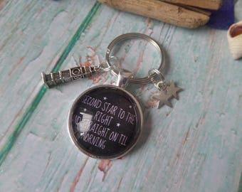 peter pan keyring, second star right, pan fan gift, fan gift, peter pan gift, glass dome keyring, on till morning, peter pan jewelery