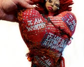 Love Lessons a Heart Shaped Self Care Art Doll with Empowering Affirmations and Wild Red Hair