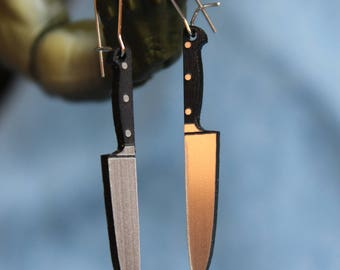 Small Kitchen Knife Earrings, silver and black, laser cut acrylic
