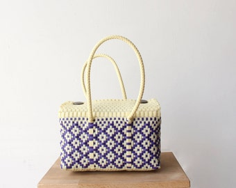 Vanilla & Purple Handmade Mexican Bag, Mexican Woven Bag, Mexican Tote, Summer Bag,  Woven Mexican Tote, Woman Purse, Gifts for her