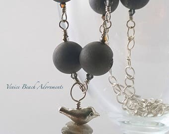 Gray Druzy bead necklace with crystals and Labordorite stack and bird pendant