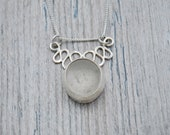 Bezel Set White Lake Erie Beach Glass Squiggle Necklace in Sterling Silver