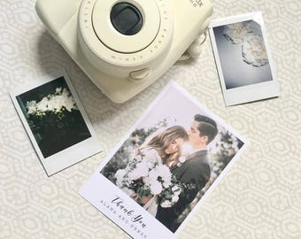 Poppy Polaroid Wedding Thank You Cards With Personalised Photo | Simple and Elegant Wedding Thank you | Polaroid Style Thank You