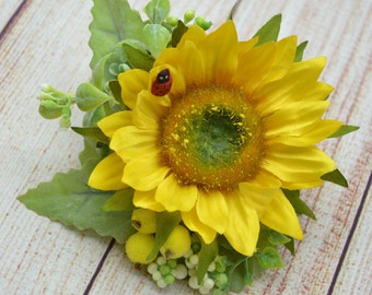 Gift-for-her Sunflower hair clip Bridal hairpiece Wedding hair clip Gift for sister Bridesmaid hair accessories Wedding flower hair clip
