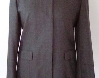 Vintage St Michael grey wool jacket 80s with black mandarin collar size medium