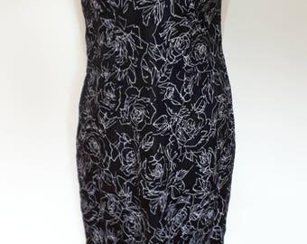 Vintage 90s black floral slip cami dress by Kaliko with spaghetti straps Dress size small