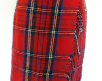 Vintage kilt red wrap kilt mini skirt tartan plaid by Tom Salto size small