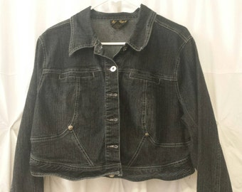 Size 16, Vintage Ladies Jean Jacket, Black, Rinestone Accent Ring on Back