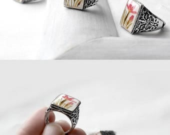 Floral ring Square handmade ring for women Real flower ring gift Romantic ring for her Adjustable ring for wife Unique gift for girlfriend