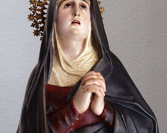 Our Lady of the Seven Sorrows Sancta Mater Dolorosa Virgin Mary Our Lady of Sorrows Glass Eyes Wooden Antique Statue /E479