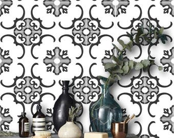 Tile Decals - Tiles for Kitchen/Bathroom Back splash - Floor decals - Milano Tile Sticker Pack in Black and White