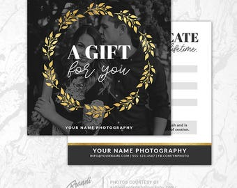 Photography Gift Certificate Template, Photoshop Gift Card Template, Photography Studio Gift Voucher, Photo Gift Card, Printable, PSD, GC3