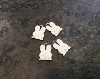Easter Bunny Charms package of 4 light gold charms with enamel detail Spring charms Easter charms
