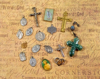 Religious Supply LOT of 17 Crucifixes Crosses Medals Assorted Styles Repurposing Lot Reuse Lot Religious Destash Lot Medal Lot