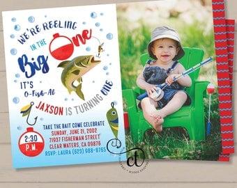 Fishing Birthday Invitation, Watercolor Fishing Invitation, The Big One, O-Fish-Ally Birthday Invite, Fishing invite, Gone Fishing, Big 1