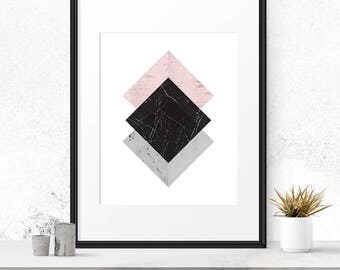 Nordic design, Geometrical abstract, Marble decor, Danish wall art, Modern abstract, Contemporary wall art, Geometric pattern, Square art