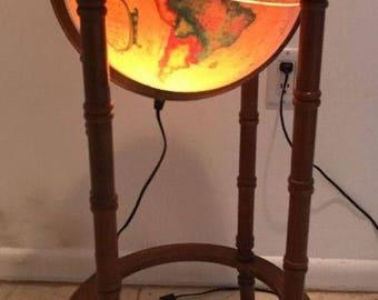 Vintage SCAN GLOBE Denmark Illuminated WORLD Globe In Wood Floor Stand