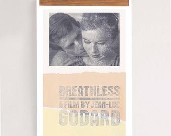 "BREATHLESS, A Bout De Souffle - Godard, Original Art,  Minimalist Movie Poster 24 x 36"""
