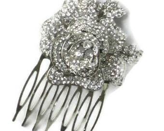 Hair Combs Bridal Floral, Wedding Hair Comb Flower, Hollywood Hair Comb, Bridal Hair Combs,