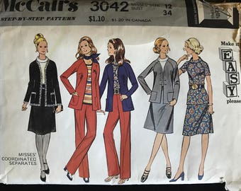 McCalls 3042 - 1970s Easy to Sew Separates with Blouse, Jacket, Skirt, and Pants - Size 12 Bust 34