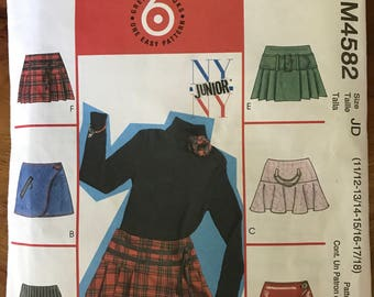 McCalls M4582 - NY Junior Girl's Mini Length Skirts with Wrap and Back Zipper Options - Size 11 12 13 14 15 16 17 18