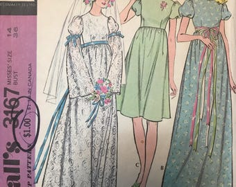 McCalls 3167 - 1970s Raised Waist Wedding Dress for Bride or Bridesmaid - Size 12 Bust 34 OR Size 14 Bust 36