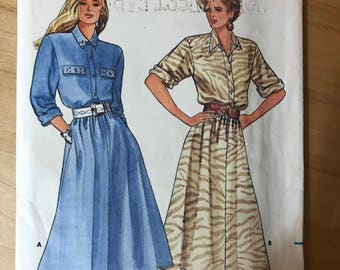 Butterick 5587 - 1980s Loose Fitting Dress with Blouson Bodice, Button Front Placket, and Flared Skirt in Midi Length - Size 8 10 12