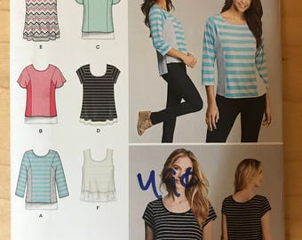Simplicity 1199 - Stretch Knit Tops with Illusion Panel and High Low Hem Option - Size XXS XS S M L XL xxl