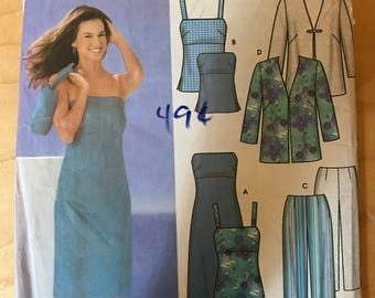 Simplicity 5499 - Easy to Sew Summer Separates with Sleeveless or Strapless Dress or Top, Jacket, Pants, and Tote Bag - Size 14 16 18 20