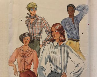 Butterick 5569 - 1970s Era Button Front Blouse with Pointed or Back Collar, Tuck Options, and Shawl - Size 14 Bust 36