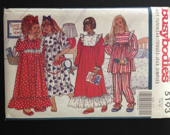Butterick 5193 - 1990s Girl's Busybodies Yoked Nightgown and Pajama Set - Size 7 8 10 OR 12 14