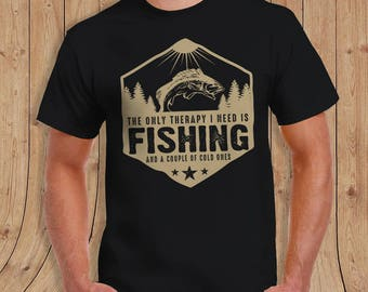 The only therapy i need is fishing and a couple of cold ones T-Shirt JEEP Shirt - t-Shirt Mens Ladies Womens