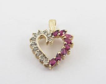 14k Yellow Gold Diamond And Ruby Heart Pendant