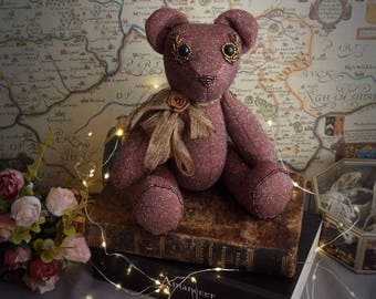 Articulated teddy bear soft toy. Vintage pink and golden art bear. Ecofriendly, made with upcycled materials.