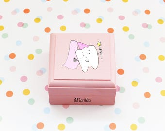 Personalised Tooth Fairy Box/handmade/tooth fairy/trinket wooden box/personalised/fairy box/girl tooth box