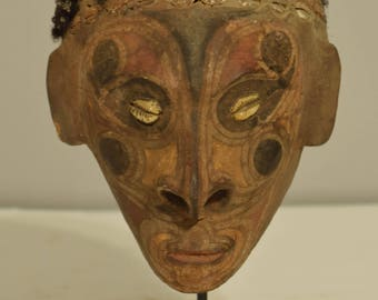 Papua New Guinea Head Over Modeled Coconut Clay Iatmul Replacement Head Ceremonial Coconut Head