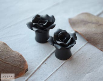 "Black Rosebud flowers plugs,Wedding tunnels,Bride gauge,8,10,12,14,16,18,20,22,24-30mm;2g,0g,00g;5/16"",3/8"",1/2"",9/16"",5/8"",3/4"",7/8"",1 1/4"""